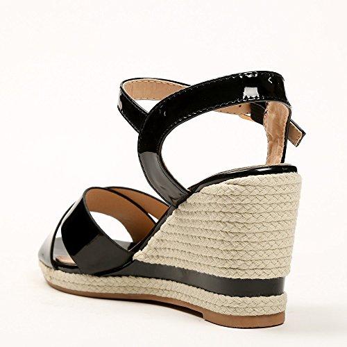 Ideal Shoes - Sandales compensées et vernies avec lanières croisées Lalia Noir