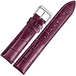 14mm Purple Leather Watch Strap Band Replacement Padded Alligator Grained Classic Pin Buckle