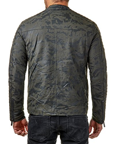 Redbridge Herren Jacke Kunst Leder Biker Geteppt M6013, Größe:S, Farbe:Camouflage - 2