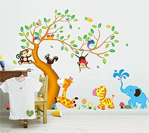 ufengke® Cartoon glücklich Tier Baum mit Eule Affen Zebra Giraffe Wandsticker, Babyzimmer Kinderzimmer Entfernbare Wandtattoos Wandbilder Kinderzimmer Tier Bilder