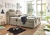 Froschkönig24 Palermo 180x200 cm Boxspringbett Bett mit Motor Sand, Ausführung:Variante 4