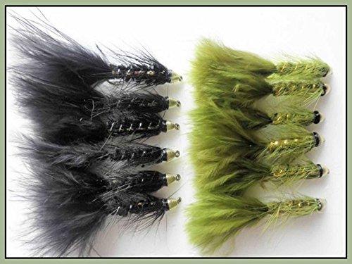 12Schwarz und Oliv Conehead Fliegenfischen Fliegen