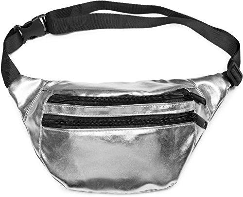 styleBREAKER Gürteltasche im Metallic Look und Reißverschluss, Bauchtasche, Hüfttasche, Damen 02012243, Farbe:Silber