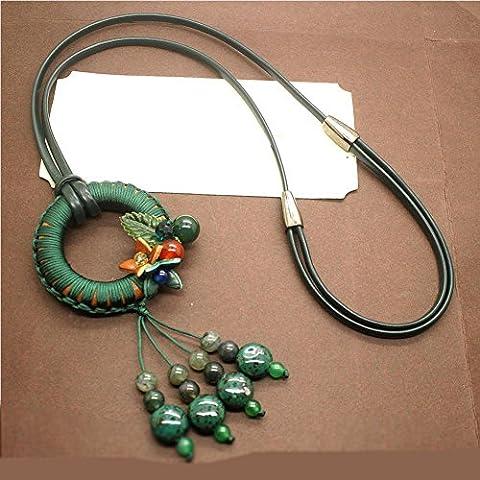 BBYaki National Wind Strick-Kreis / Leder Seil Frau Halskette / Lange Abschnitt Pullover Kette, Herbst Und Winter Casual Zubehör , Green