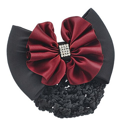 Mode Snood Net Hair Pin Bow Tie Spring Clip Clip Barrette cheveux, Rouge
