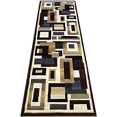 Modern Area Runner Rug 32 Inch X 7 Feet 3 Inch. Design 584 Champaign by Reflections