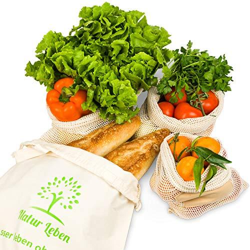 Natur Leben Einkaufsnetz - Wiederverwendbare Obst- und Gemüsebeutel im 4er  Set inkl  Brotbeutel - Nachhaltige Baumwollbeutel die Beste Alternative