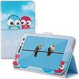 kwmobile Funda para Huawei MediaPad T1 7.0 / Honor Play Tablet T1 - Case delgado para tablet con soporte - Smart Cover slim para tableta Diseño pájaro comic en azul rojo azul claro