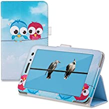 kwmobile Funda para Huawei MediaPad T1 7.0 / Honor Play Tablet T1 - Case delgado para tablet con soporte - Smart Cover slim para tableta Diseño Cómic de pájaros en azul rojo azul claro