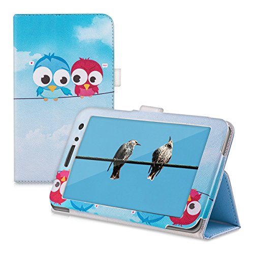 kwmobile Hülle für Huawei MediaPad T1 7.0 / Honor Play Tablet T1 mit Vögel Comic Design und Ständer - Kunstleder Tablet Case Schutzhülle in Blau Rot Hellblau