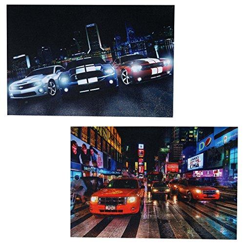 Mendler 2X LED-Bild Leinwandbild Leuchtbild Wandbild 60x40cm, Timer ~ Cars