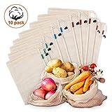 Kupton Lot de 10 sacs en maille réutilisables en coton biologique lavable pour ranger les fruits et légumes, les courses, les...