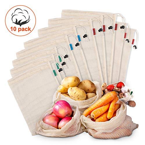 Kupton Wiederverwendbar Obst- und Gemüsebeutel, Obst-Beutel Gemüse-Netz Gemüsebeutel aus Baumwolle, Einkaufsnetze Nachhaltige Einkaufsnetze Obst- & Gemüsenetze, 10 Stück (5 groß 2 mittel 3 klein)