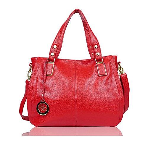 Handtasche Leder Henkeltasche Für Fraun Schultertasche Reisen Arbeit und Einkäufe E522-6 (Rot) (Rote Handtasche)