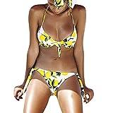 WUDUBE_Badeanzüge-Bikini mit Damenblumendruck und gelbem Zitronenmuster Neckholder-Badeanzug Stilvoll Triangel Oberteil Bandeau Strandmode Bikini