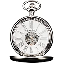 KS Reloj de Bolsillo con Cadena Hombres Vintage Steampunk Esqueleto Mecánico con Caja de Regalo Blanco