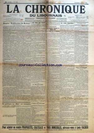 CHRONIQUE DU LIBOURNAIS (LA) [No 7264] du 23/06/1933 - JAURES FELDWEBEL DU KAISER - LES MAUVAISE BESOGNES DU DEPUTE ROY - POLICE CORRECTIONNELLE - LE RALLYE AERIEN DES GRANDS VINS DE BORDEAUX - LA MORT DE M. CHASTENET - PIERRE LYAUTEY - M. MOSSILINI - EDOUARD HERRIOT