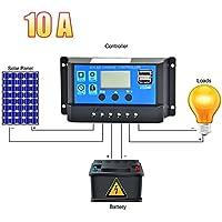 Gaeruite Solar Charge controller regolatore di carica intelligente, 12V/24V quattro-tasto multifunzionale controller intelligente batteria del pannello solare Street Light controller USB con protezione di sicurezza, As Show, 10A - Trova i prezzi più bassi