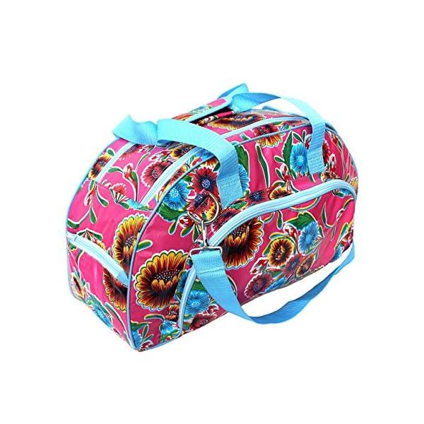 IKURI Weekender Bag - Waterproof Multifunctional Satchel Tote Bag for Women Sportbag Travel Luggage Duffle Oilcloth Handmade - Design Vintage Pattern Dulce Flor - handmade-bags