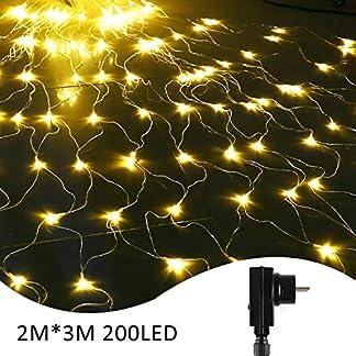 IDESION-LED-Lichternetz-3-2-Meter-200-LED-Lichtervorhang-8-Lichtmodi-Dekoleuchte-fr-Weihnachten-HochzeitHalloween-Partydekoration-Auen-InnenWarmwei