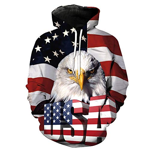 ZXTXGG Herren/Frauen 3D Hoodies Amerikanische Flagge USA Alphabet und Adlerkopf Football Team Uniform Muster Digitaldruck Kapuzenpullis Liebhaber Kapuzenpullis(S,Bunt) Atlanta Falcons Uniform