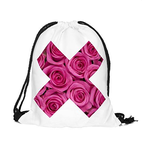 BetterStylz Jahn2 X-ROSE Turnbeutel Rucksack Sport Beutel Gymsack Hipster Tasche vers. Design (ca. 32 x 39 cm) (One Size/Einheitsgrösse, X-Rose Pink/White)