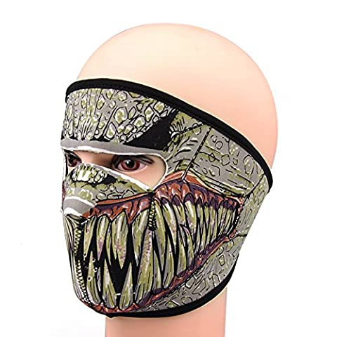 2 in 1 NEOPRENE SKULL FULL FACE REVERSIBLE MOTORCYCLE MASK (Fang Face)