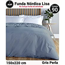 ADP Home - Funda nórdica Lisa, Calidad 144Hilos, 16 hermosos colores, cama de 90 cm - Gris Perla