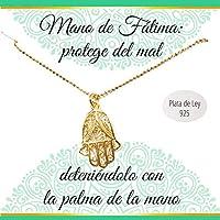 Colgante Mano de Fátima de Plata de Ley chapado en Oro amarillo| Collar con mensaje | Regalos especiales | Collar amuleto | Envío gratis