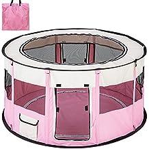 TecTake Parque para Perro Cachorros Corralito Jugar Animales Mascotas plegable 114x58 cm (diámetro x alto) rosa