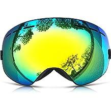 ZIONOR Lagopus X Motos de Nieve Snowboard Skate Gafas de esquí con Desmontable Lens y Lente Gran Angular Antiniebla Gran Esférico Profesional Unisex Multicolor (Negro)