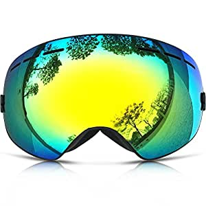 ZIONOR 10 Colors Lagopus Snowmobile Snowboard Skate Ski Goggles with Detachable Lens and Wide Angle Double Lens Anti-fog Big Spherical Professional Unisex Multicolor Lagopus3100(Black)¡­