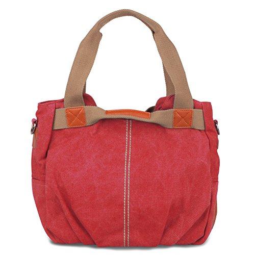 Damen Handtasche Vintage Schultertasche Canvas Umhängetasche für Mädchen