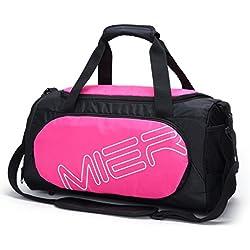 MIER Gimnasio Bolso Sports Duffel para hombres y mujeres con compartimiento de zapatos, 25L,Rose
