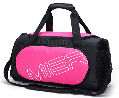 MIER Gym Bag Sports Duffel for Men and Women with Shoe Compartment, 25L (Pink)