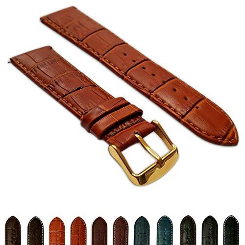 22mm Tan Echt Leder Mock Croc Uhrenarmband Band Herren Krokodil Gepolsterte Gold Schnalle (Uhrenarmband Krokodil)