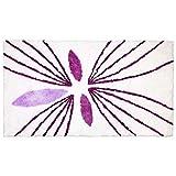 XXL Badematte Badmatte Duschvorleger Badvorleger Vorleger Badteppich weiß/violett 90 x 160 cm (358866)