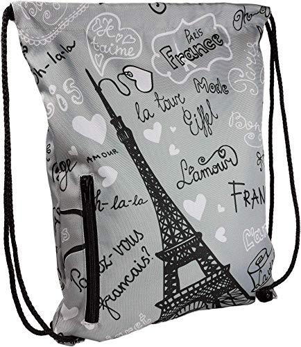 LimeWorks Turnbeutel, Motiv Paris Eiffelturm, gefüttert, mit Außentasche (Hellgrau) -