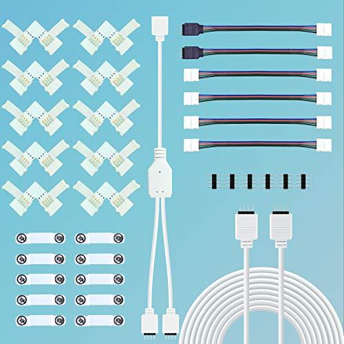 LED Strip Verbinder, LED Stripe Verlängerung, LED Strip Eckverbinder, LED Streifen Befestigungsclips, LED Streifen Splitter Kabel,Für 10mm 4 Polig RGB 5050 LED Strip