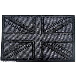 Brtish bandera de Reino Unido, 3d gancho táctico Badge Militar moral bordado parche (Gray)
