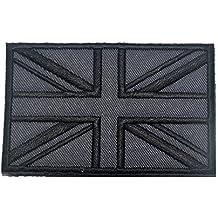 Brtish bandera de Reino Unido, insignia de gancho 3d táctico militar parche de bordado de moral y # xFF08; Gris y # xFF09;