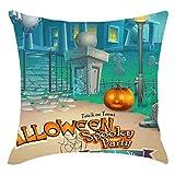 Rokoy Happy Halloween, Gufo di Zucca Personaggio dei Cartoni Animati Fantasma Federa, Morbido Cuscino Quadrato Moda Cuscino Quadrato Home Decor Divano Mobili Camera da Letto