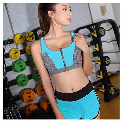 WILLIAM&KATE Vêtements de yoga Deux ensembles Soutien-gorge de beauté pour femmes Bra Zipper Shock Underwear Shorts Running Suit Set Bleu