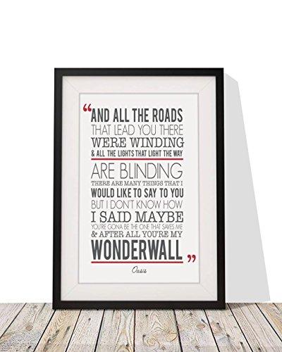 Oasis Wonderwall testi di canzoni, formato A4, 10 x 12-Cornice smaltata con regalo di Natale, per San Valentino, anniversario di matrimonio Design2 Black Frame - White Mount