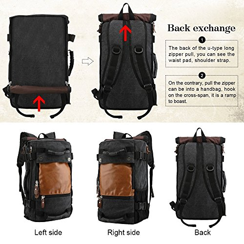 Best canvas backpack in India 2020 MOCA 4in1 Canvas casual Backpack Vintage Military Messenger Hiking Camping outdoor Trip Tour Travel Duffel Shoulder Casual Bag BackPack Rucksack 0208 (Inexperienced) Image 5