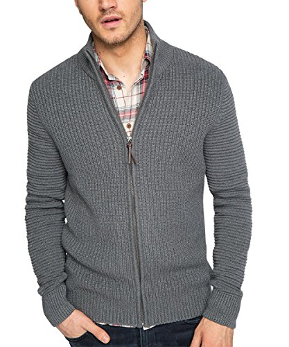 ESPRIT Herren Strickjacke mit grobgestrickter Struktur - Regular Fit, Gr. Small, Grau (MEDIUM GREY 035)