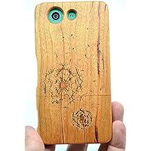 RoseFlower® SONY Xperia Z3 Compact Funda de Madera - Diente de León madera cerezo - Natural Hecha a mano de Bambú / Madera Carcasa Case Cover con GRATIS Protector de Pantalla para tu Smartphone