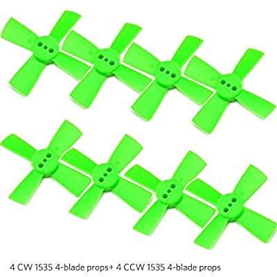 Fancywhoop 8pcs 1535 4-Blade Propeller Green 1.5 Inch Prop 1.5mm Mounting Hole Compatible with 1102 1103 1104 Brushless Motor for Micro FPV Racing Drone Mini Quadcopter