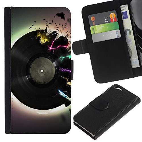Graphic4You Record Cracks Design Brieftasche Leder Hülle Case Schutzhülle für Apple iPhone 6 / 6S Design #14