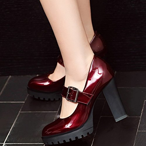COOLCEPT Femmes Mode Talons Bloc Plateforme Escarpins Mary Janes Chaussures Wine Red